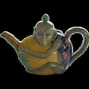 Large English Minton Majolica Monkey And Melon Coffee Pot