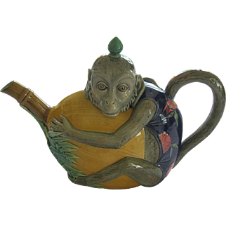 Large English Minton Majolica Monkey And Melon Coffee Pot
