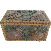 Interesting Folk Tramp Art Box With Great Carvings