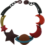French Designed Resin Necklace By Marion Godart With Moon Star Planet