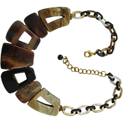 French Designed Deco Shaped With Links Tortoise Shell Look Lucite Necklace