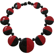 French Designed Deco Style Red And Black Resin Necklace