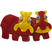 Double Hippo Pin By French Designer Lea Stein