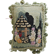 Small Vintage Needlework Pillow With Garden Scene