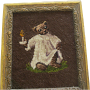 Vintage Needlepoint Picture Of Bear In His Nightshirt With Candle