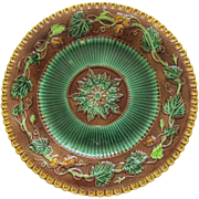 George Jones Majolica Floral And Geometric Plate