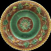 George Jones Majolica Floral And Geometric Plate
