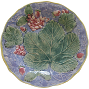 Majolica Grapes And Maple Leaf Plate With Lavender Ground
