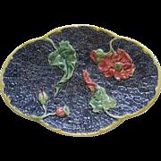 Stunning English Majolica Large Poppy Platter Great Colors