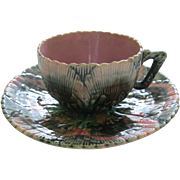 Etruscan Majolica Shell And Seaweed Cup And Saucer