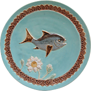 English Holdcroft Majolica Fish Plate