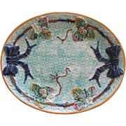 Large Oval Majolica Strawberry And Bow Platter