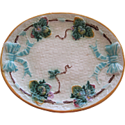 Large Majolica Bow And Strawberry Platter