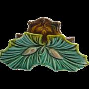 English Majolica Leaf Place Card Holder