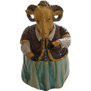 Wilhelm Schiller And Son Majolica Figural Humidor Or Tobacco Jar Of A Ram