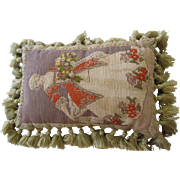 Victorian Needlework Pillow Of A Colonial Lady