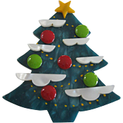 Stunning French Galalith Christmas Tree Pin