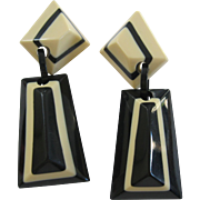 French Designed Galalith Black And Cream Clip Earrings