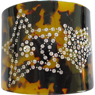French Designed Lucite Cuff Bracelet With Crystal Stars And Tortoise Design