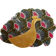 Peacock Pin By French Designer Lea Stein