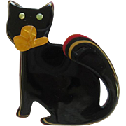 Watching Cat Pin With Layered Tail By French Designer Lea Stein
