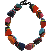 French Designed Chunky Resin Choker Necklace In Bright Colors