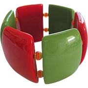 French 1940's Hard Plastic Resin Stretch Bracelet With Great Colors