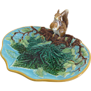 English George Jones Majolica Serving Dish With Squirrel