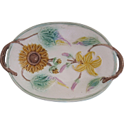 Samuel Lear English Majolica Sunflower And Tiger Lily Handled Platter