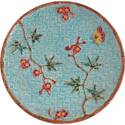 English Fielding Majolica Butterfly and Prunus Flowers Plate
