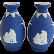 Pair Of Cobalt Blue Wedgwood Vases