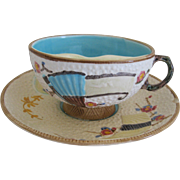 English Fielding Majolica Mustache Cup And Saucer Fan And Prunus Flowers