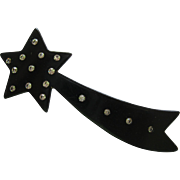 Early Shooting Star Pin With Crystals By French Designer Lea Stein