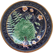 English Majolica Cobalt Blue Plate With Greek Key Design Fern Flowers And Bow