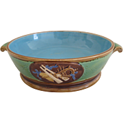 English Minton Majolica Shallow Bowl With Handles