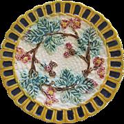 English Majolica Raspberry Plate
