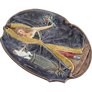 Cute Victorian Setting To this French Majolica Naughty Lady Dish