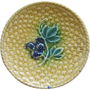 Majolica Butter Pat With Basket WEave And Raspberries