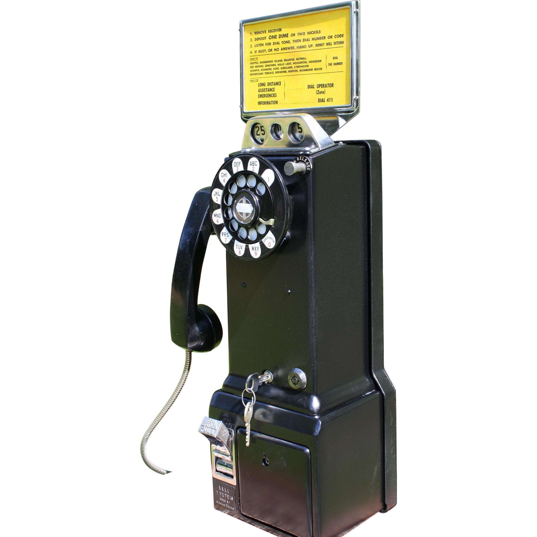 Western Electric 3-Slot Payphone -  Works Anywhere
