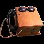 Original 1900's Crank Wall Telephone in Oak Case