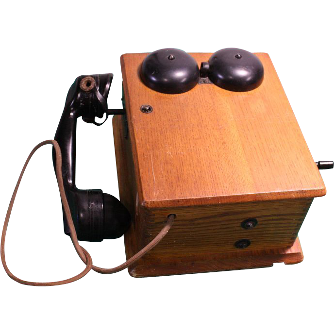 Original 1900's Crank Wall Telephone in Oak Case
