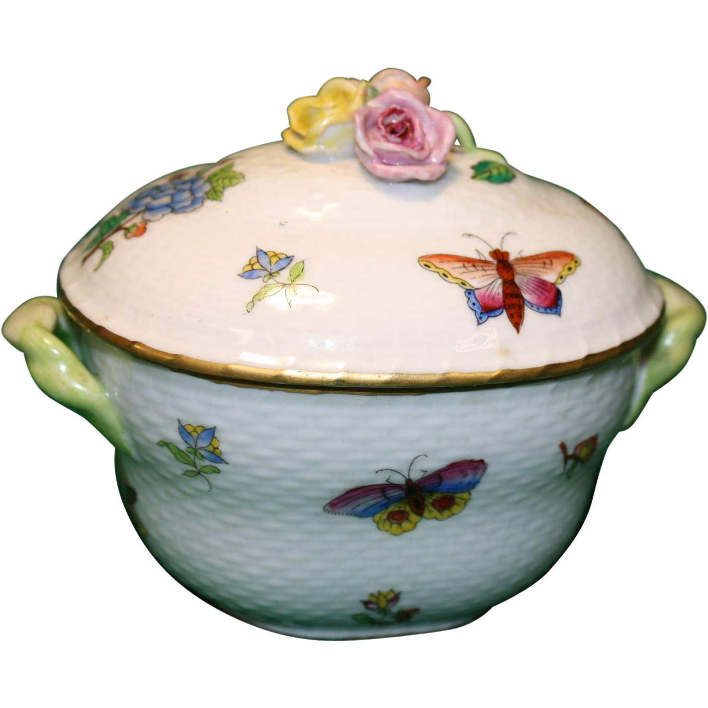 Herend Queen Victoria Sugar Bowl 1840-50's Fine Porcelain