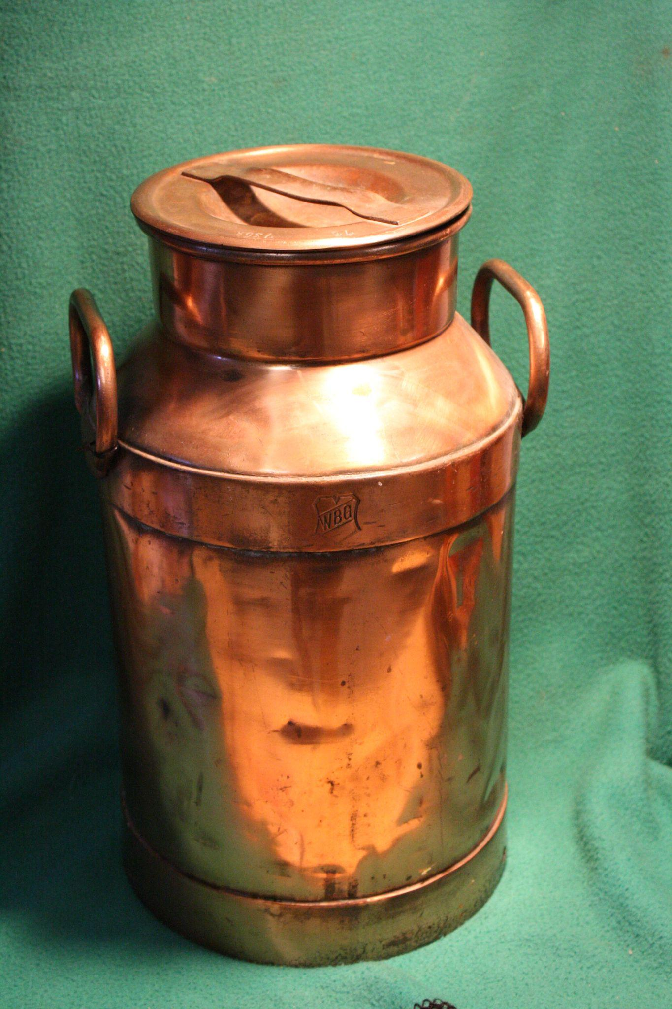 5 Liters To Gallons >> Vintage Copper Dairy Creamer Milk Can 20 liters from funcollectibles on Ruby Lane