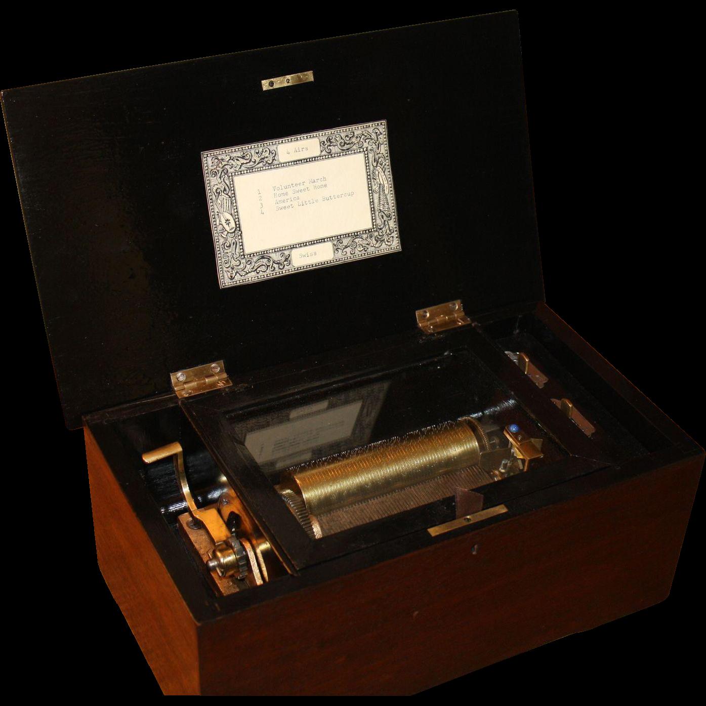 Antique 4 Tune Swiss Cylinder Music Box 1860-1890's