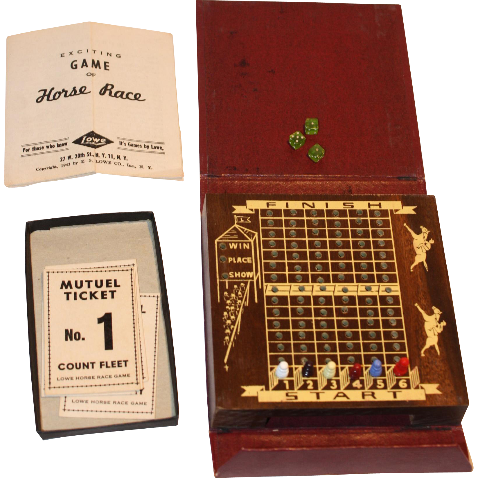 """E.S. Lowe  """"Bookshelf Game"""" Horse Race Vintage 1940's"""