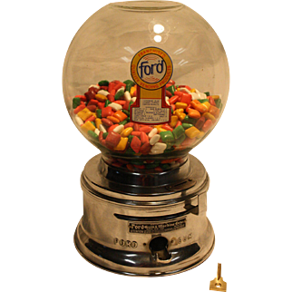 1960's Ford Gumball Machine with Ford Gum – Excellent!
