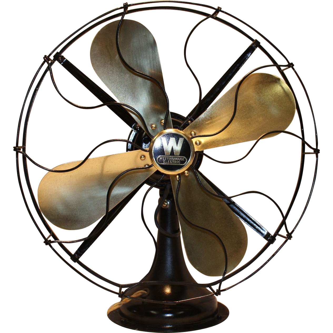 """Antique Westinghouse Brass Blade Fan 16""""  Restored"""