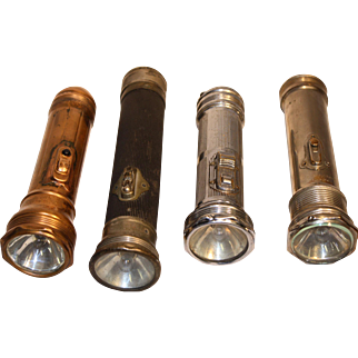 Lot of Four Vintage Flashlights - Early 1900's