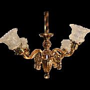 Antique Japanned Copper Chandelier Authentic 1905