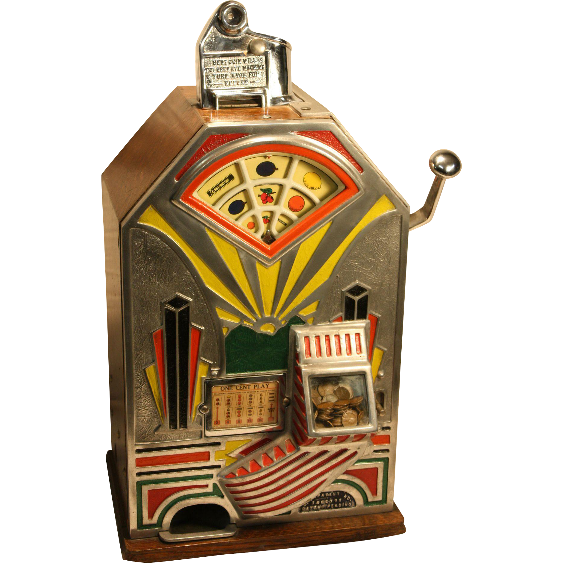 "One Cent  Jennings  ""Little Duke"" Art Deco Slot Machine 1930's"